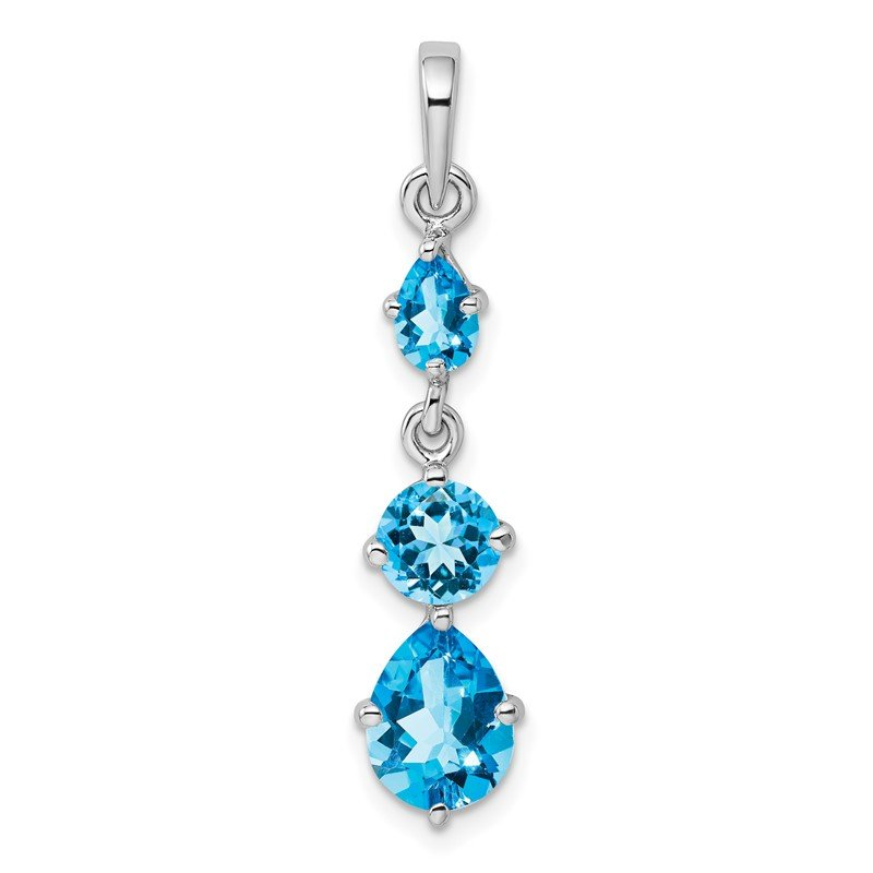 Quality Gold Sterling Silver Rhodium-plated Blue Topaz Pendant