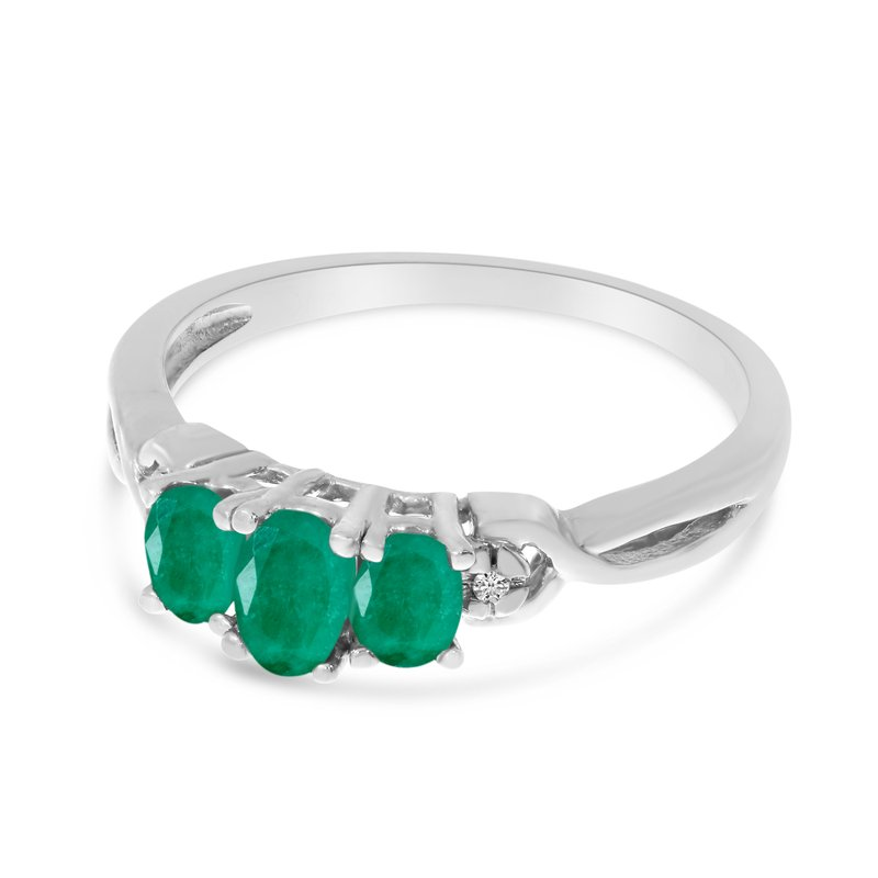 Color Merchants 14k White Gold Oval Emerald And Diamond Three Stone Ring