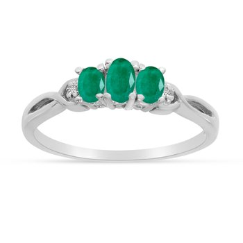 14k White Gold Oval Emerald And Diamond Three Stone Ring