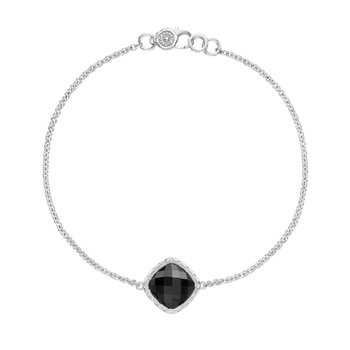 Solitaire Cushion Gem Bracelet with Black Onyx