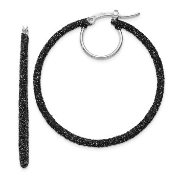 Sterling Silver Rhodium and Black Glitter Enamel Glitter Hoop Earrings