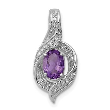 Sterling Silver Rhodium-plated Diamond & Amethyst Oval Pendant