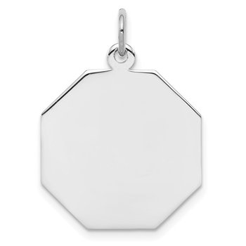 SS Rh-plt Engraveable Octagon Polished Front/Satin Back Disc Charm