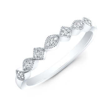 White Gold Milgrain Alternating Shapes Stackable Band