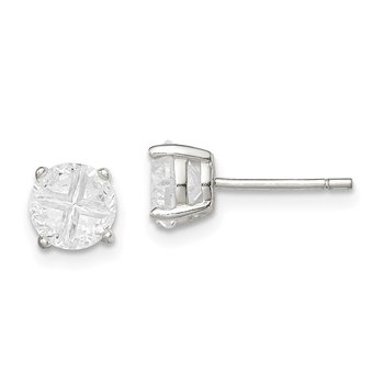 Sterling Silver 6mm Round Basket Set Cross-cut CZ Stud Earrings