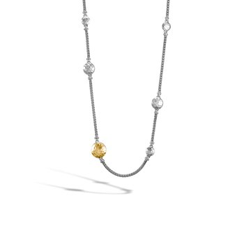 Dot Hammered Long Necklace in Silver and 18K Gold