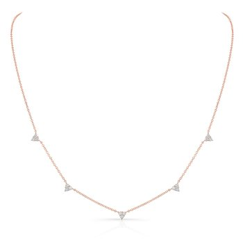Rose Gold Triangle Station Necklace