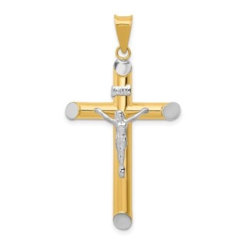 14K Two-Tone w/Rhodium Inri Crucifix Pendant