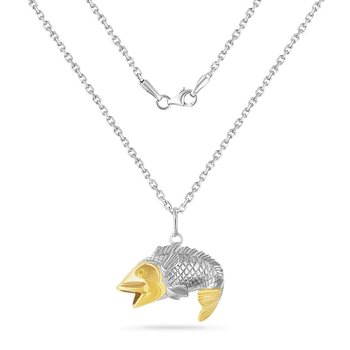 14K YELLOW  & STERLING SILVER BASS PENDANT ON 18 INCHES SILVER CHAIN