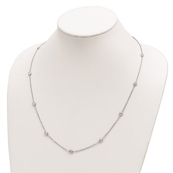 Sterling Silver Rhodium-plated 11-Station CZ Polished Necklace