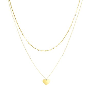 14K Gold Heart & Mirror Chain Multi-Strand Necklace
