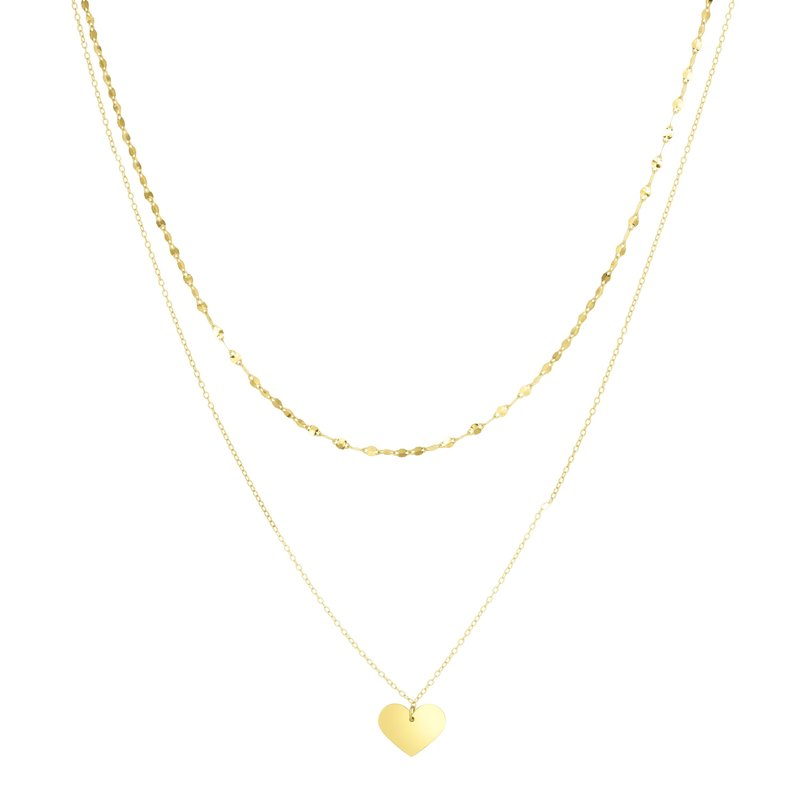 Royal Chain 14K Gold Heart & Mirror Chain Multi-Strand Necklace