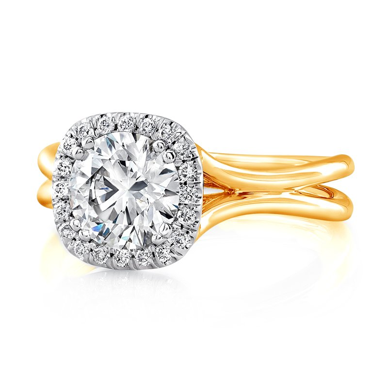 "Uneek Fine Jewelry Uneek Round Diamond Engagement Ring with Cushion-Shaped Halo in 14K White Gold and Signature ""Silhouette"" Double Shank in 14K Yellow Gold"