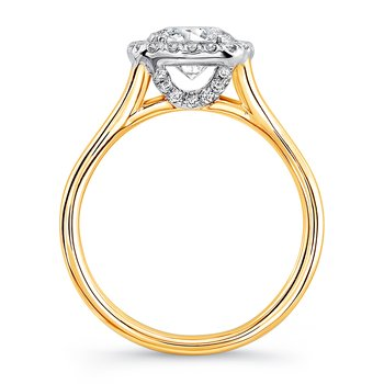 "Uneek Round Diamond Engagement Ring with Cushion-Shaped Halo in 14K White Gold and Signature ""Silhouette"" Double Shank in 14K Yellow Gold"