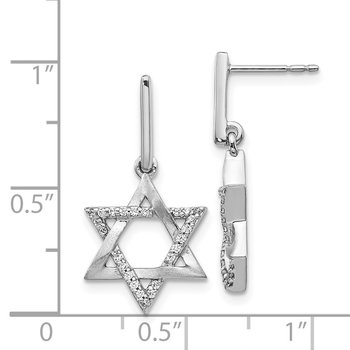 14k White Gold Diamond Star of David Dangle Earrings