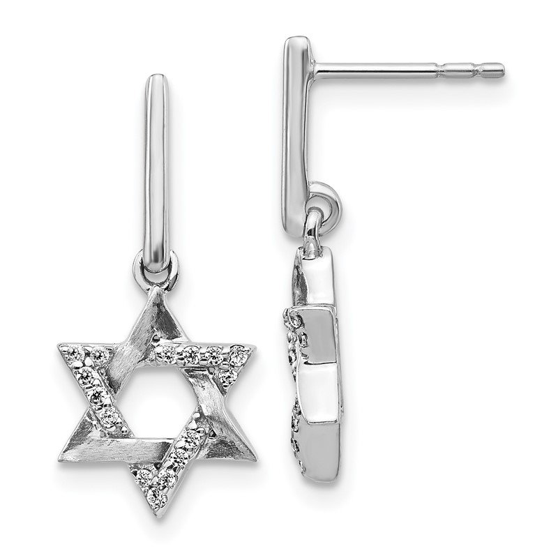Quality Gold 14k White Gold Diamond Star of David Dangle Earrings