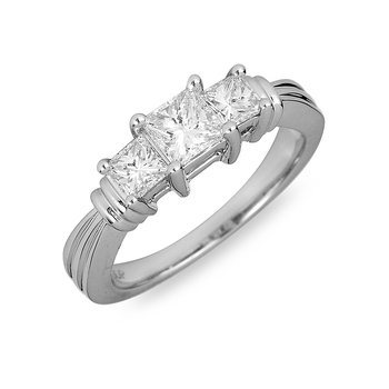 18K WG & PD Diamond Engagement Ring in Princess Cut
