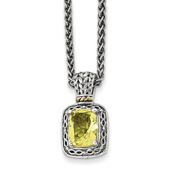 Sterling Silver w/14k Antiqued Lemon Quartz Necklace