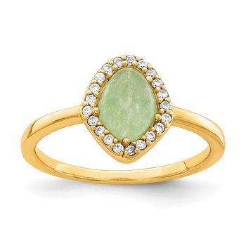 Sterling Silver Gold-tone Green Stone & CZ Ring