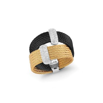 Black & Yellow Cable Crossed Ring with 18kt White Gold & Diamonds