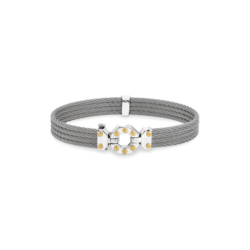 ALOR Grey Cable Bracelet with Steel & 18kt Yellow Gold Octagonal Station
