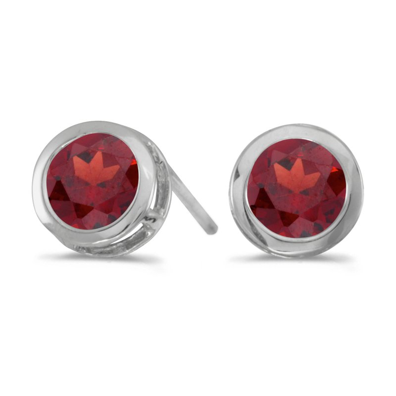 Color Merchants 14k White Gold Round Garnet Bezel Stud Earrings