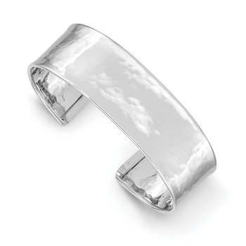 14k White Gold 19mm Hammered Polished Cuff Bangle
