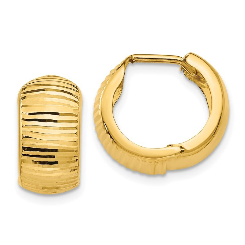 Quality Gold 14K Gold Textured and Polished Hinged Hoop Earrings