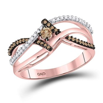 10kt Rose Gold Womens Round Brown Color Enhanced Diamond Solitaire Ring 1/4 Cttw