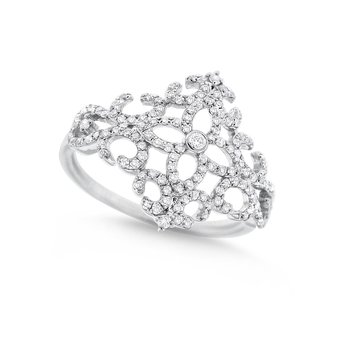 Diamond Fashion Ring in 14K White Gold with 131 Diamonds Weighing  .42ct tw