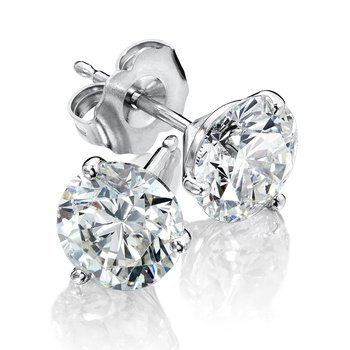 Three Prong Diamond Studs in 14k White Gold Screw-back posts (1/4ct. tw.)