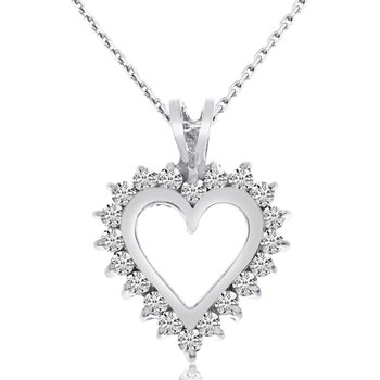 14K White Gold Diamond Heart Pendant