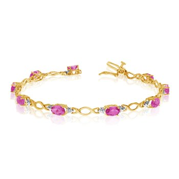 14K Yellow Gold Oval Pink Topaz and Diamond Bracelet