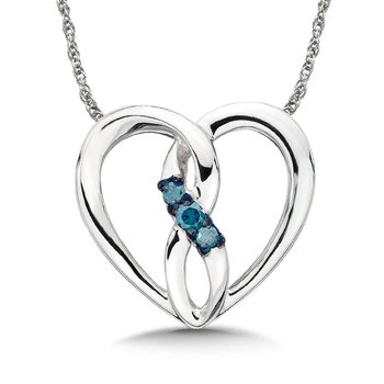 Blue Diamond 14k White Gold Infinity Heart Pendant (0.06ct. tw.)