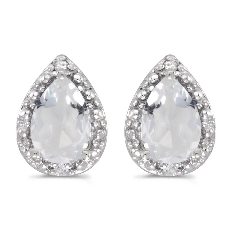 Color Merchants 14k White Gold Pear White Topaz And Diamond Earrings