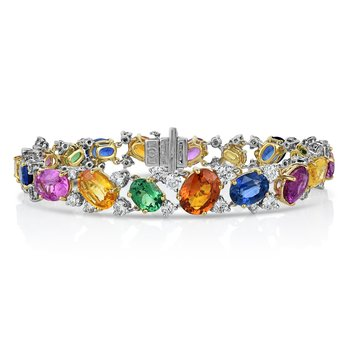 18kt Gold & Platinum Multicolor Gemstone Bracelet