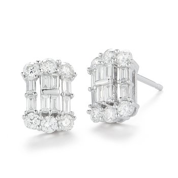 Classic design round & baguette Diamond Earrings 0.94C TW