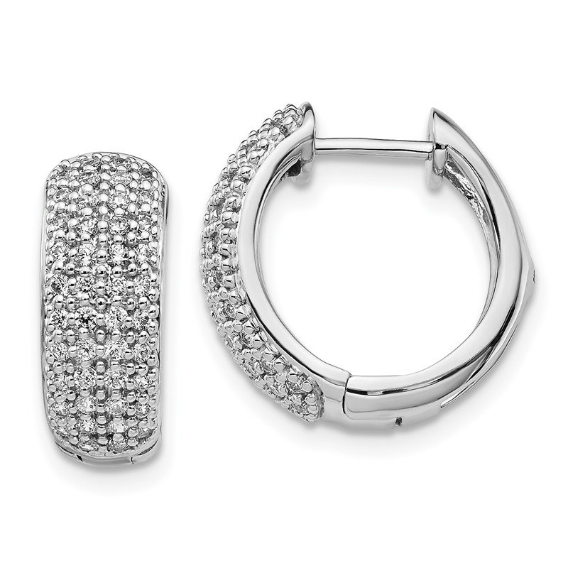 Quality Gold 14k White Gold Diamond Hinged Hoop Earrings