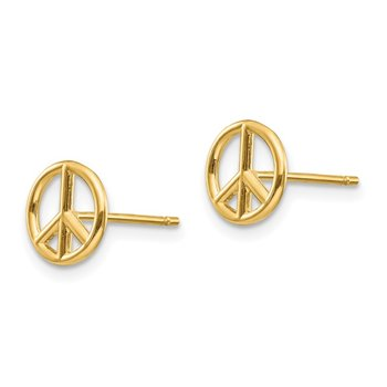 14K Polished Peace Symbol Post Earrings