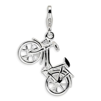 Sterling Silver Amore La Vita Rhodium-plated 3-D Enameled Bicycle Charm