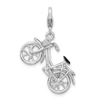 SS RH 3-D Enameled Bicycle w/Lobster Clasp Charm