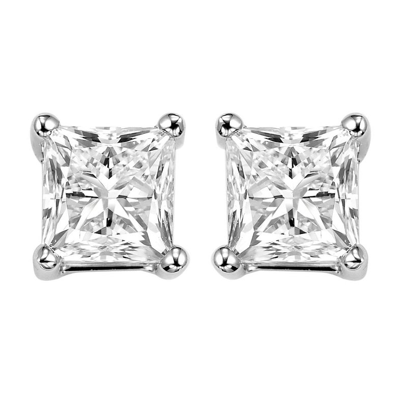 Gems One Princess Cut Diamond Studs in 14K White Gold (1 ct. tw.) I1/I2 - G/H