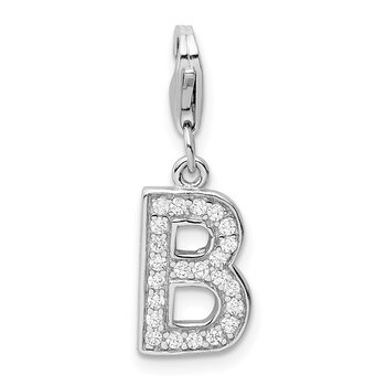 Sterling Silver Rhodium-plated w/ Lobster Clasp Letter B Initial CZ Charm