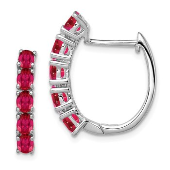 Sterling Silver Rhodium-plated Polished Ruby Hinged Hoop Earrings