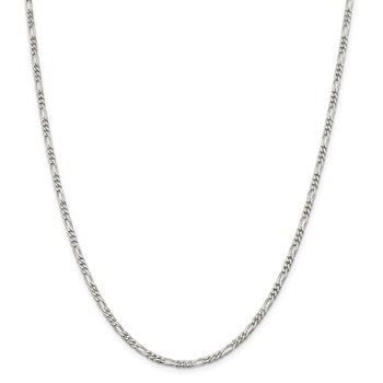 Sterling Silver 2.85mm Figaro Chain Anklet