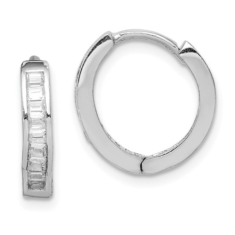 Quality Gold Sterling Silver Rhodium-plated CZ Baguette Hinged Hoop Earrings