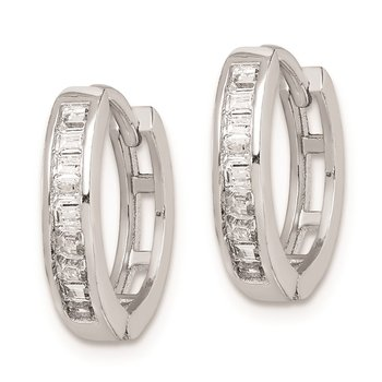 Sterling Silver Rhodium-plated CZ Baguette Hinged Hoop Earrings