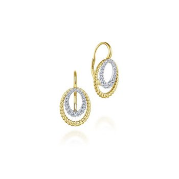 14k Yellow/White Gold Twisted Oval Diamond Drop Earrings