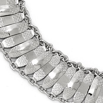 Leslie's Sterling Silver Polished and Textured Fancy Bracelet