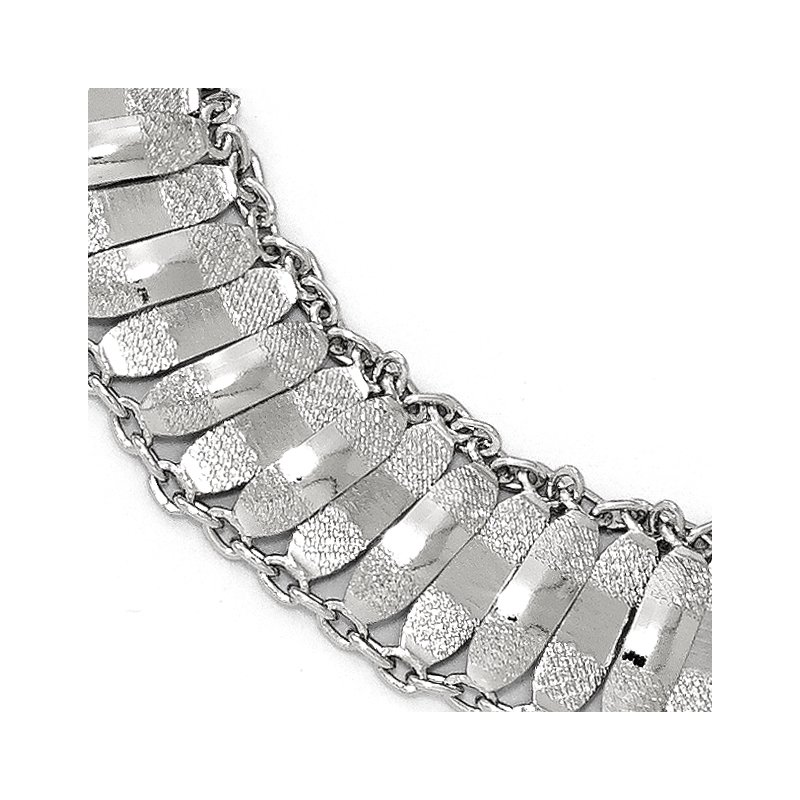 Leslie's Leslie's Sterling Silver Polished and Textured Fancy Bracelet